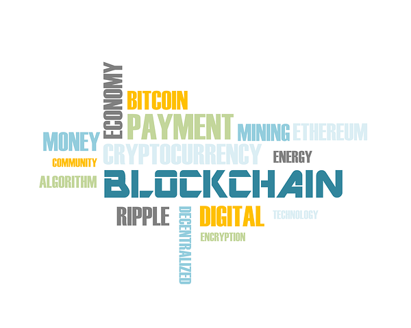 Collage made from the words: BLOCKCHAIN, BITCOIN, ETHEREUM, CRYPTOCURRENCY,, DIGITAL, DECENTRALIZED, ALGORITHM, TECHNOLOGY ETC.
