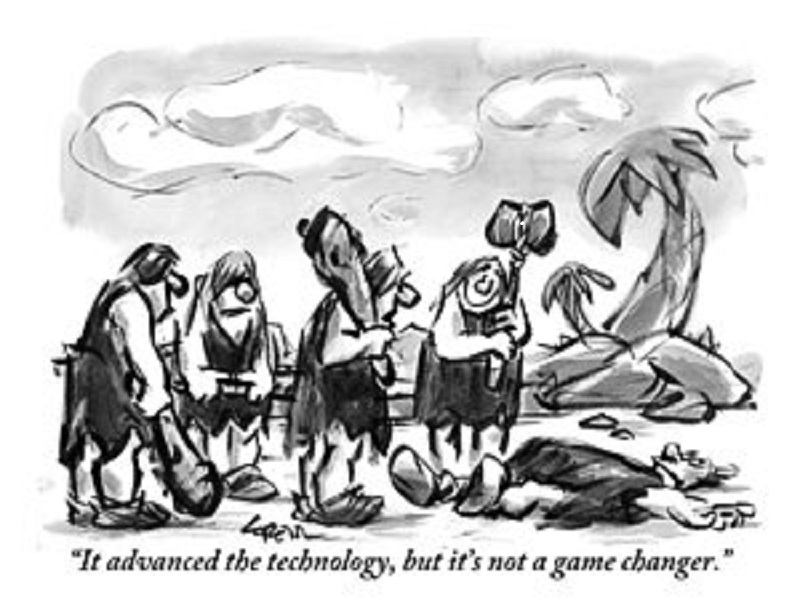 A black and white cartoon sketched drawing of 5 Cavemen with one of them knocked down lying on the ground.