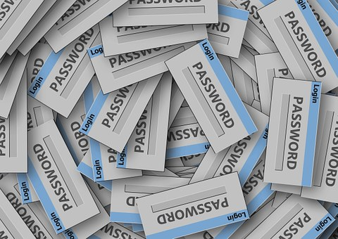 "a Pile of small slips of two-toned blue and white pieces of paper with the word, ""LOGIN"" across the blue top part and the word, ""PASSWORD"" written on the white main part of the paper."