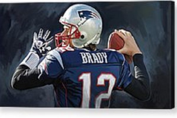 Acrylic Painting of New England Patriot Quarterback, Tom Brady.