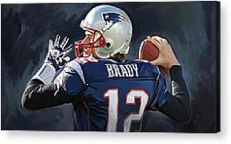 Acrylic Painting of New England Patriot Quarterback, Tom Brady.