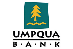 Umpqua Bank's logo of a golden yellow fir tree on a forest green background.